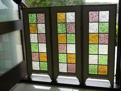 Leadlight stained glass window in 3 timber frames