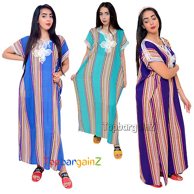 Moroccan Kaftan Womens Maxi Dress Embroidery Full Length Caftan Batwing One Size