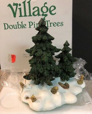 New Dept 56 DOUBLE PINE TREES Christmas Heritage Village New In Box 52619