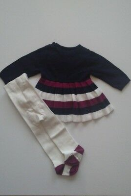 Ex Nutmeg baby girls navy knit dress & tights outfit set Newborn baby  0/3