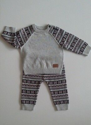 Ex Nutmeg Baby boys clothes knitted two piece outfit 3-6 9-12 12-18 18-24 months