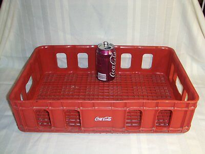 "Vintage HUSKYLITE ""Coca Cola"" Stacking Bottle Red Plastic Crate with White Logos"