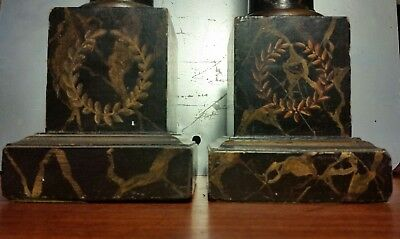 Pair Vtg French Empire Style Tole Faux Painted Wood Antique Column Lamp Bodies