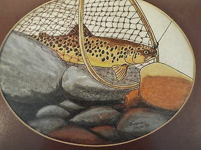 Delightful watercolor fishing scene By Francis Youso California artist signed 93