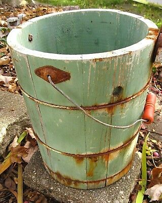 Vintage Antique Primitive Green Wood Wooden Bucket Pail Old Farmhouse