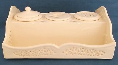 Vintage Leedsware Classical Creamware Pottery Inkwell Desk England Rare Superb