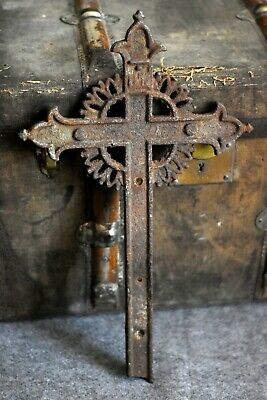 """21"""" old Cross Medieval antique iron ancient Gothic RARE"""