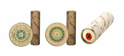 Set Of 3 2017 2018 $2 Coloured Coin Rolls Anzac Lest We Forget & Remembrance Ram