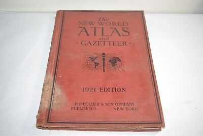 Vintage 1921 The New World Atlas and Gazeteer PF Collier & Son Hardcover