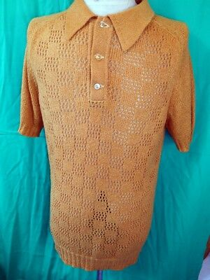 Vintage 60s 70s Mustard Crestknit Boucle Acrylic Mod Sharpie Style Polo Shirt 40