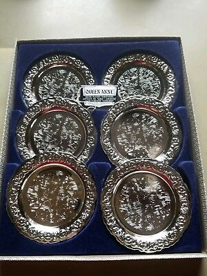 Vintage Queen Anne Silver Plated Coasters X 6, Boxed