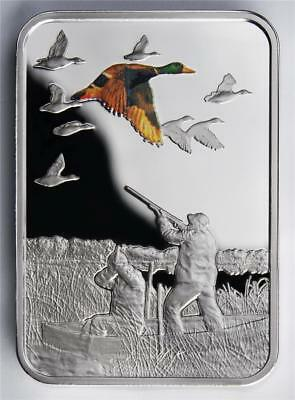 2011 Malawi 20 Kwacha Art of Hunting - DUCK HUNTING Silver Proof bar shaped Coin