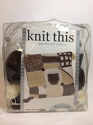 Knit This Patchwork Pillow Kit NEW USA Seller
