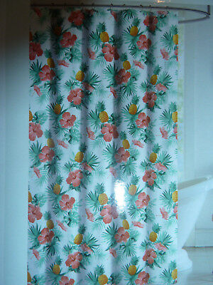 Colorfultropical Fiji Hibiscus Flower Fabric Shower Curtain New