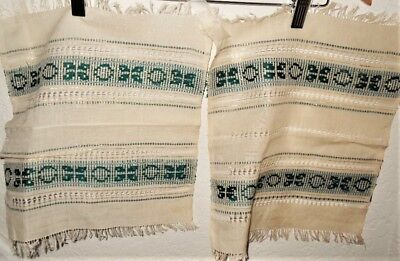 Pair of Antique Handmade Dollies / Placemats Amazing Workmenship Green / Gold