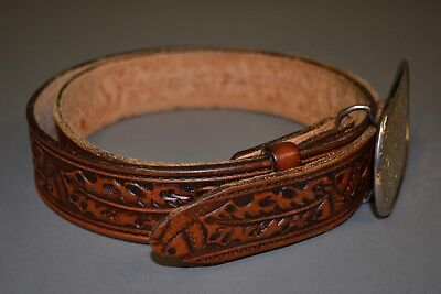 Vintage Tory Tooled Brown Leather Cowboy/Western Belt with Buckle Size (38?)