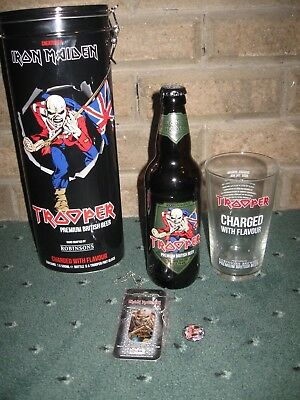Iron Maiden Trooper Beer  Tin With Glass & Emptied Bottle Plus Badge & Dogtag