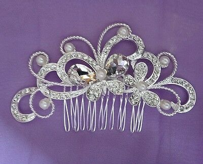 Wedding Bridal Hair Comb White Pearl Headpiece Vintage Crystal Flower Silver