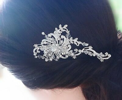 Bridal Wedding Rhinestones Crystal Diamante Pearl Silver Hair Comb Headpiece