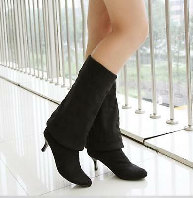 22cf6bbd5b9 WOMENS SUEDE KITTEN Heel Pointy Toe Clubwear Pull On Over Knee Thigh ...