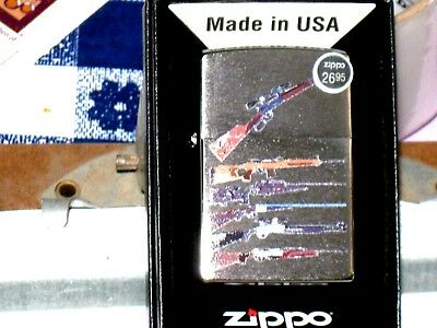 New Genuine USA ZIPPO Windproof Flame Lighter 79725 Rifle Designs Brushed Chrome