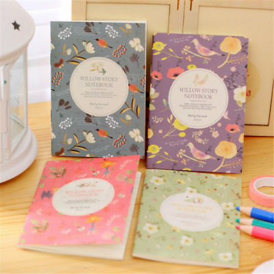 4pcs Vintage Mini Bird Flower Notebook Paperback Book Diary Notepad Sketchbook