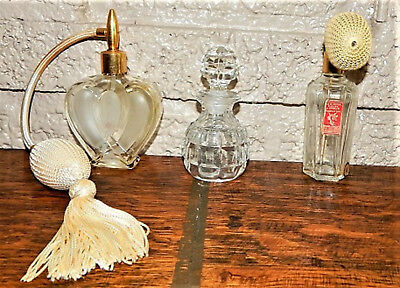 Vintage perfume bottles (set of 3) 2 with atomizer & one with stopper