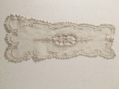 Antique Tambour Net Cream Lace c1920 Doily Cotton Thread Flowers Leaves