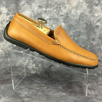 71e948fe38642 Geox Monet Tan Brown Leather Loafer Moc Toe Driving Moccasin Shoes Mens 43  / 10