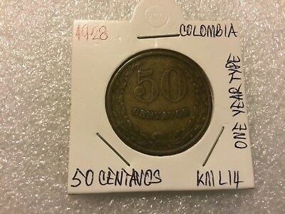 1928 COLOMBIA LEPROSARIUM coinage -KM L14 -50 centavos Collectible coin