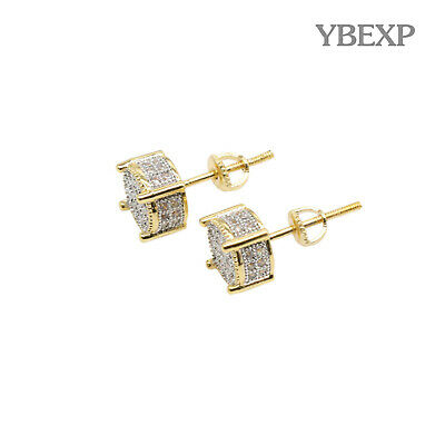 Mens 18K Gold Plated Iced Out CZ Micropave Round Earring Stud Screw Back Hip Hop