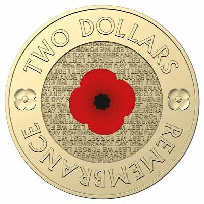 2018 $2 30th Anniversary Red Poppy Remembrance day Uncirculated Coin