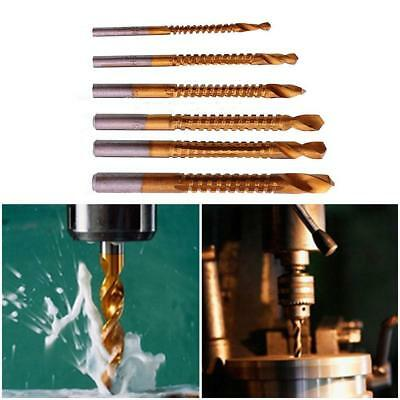 6x HSS Ti Step Drill Piece Woodworking Wood Metal Cutting Hole SawSet Kit N