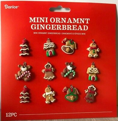 "Miniature Dollhouse Mini CHRISTMAS Tree ~ 12 1"" Asst Clay Gingerbread Ornaments"