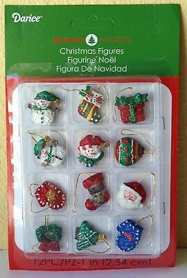 "Miniature Dollhouse Mini CHRISTMAS Tree ~ 12 1"" Resin Glitter Figures Ornaments"