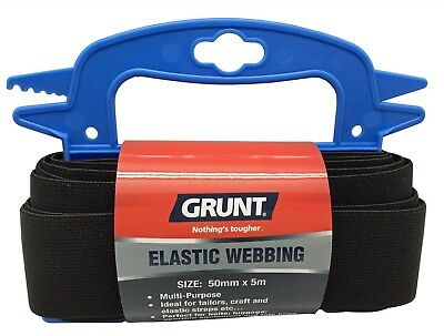 Grunt ELASTIC WEBBING 50mmx5m Multi-Purpose, Extruded Rubber BLACK *Aust Brand