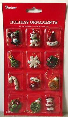 "Miniature Dollhouse Mini CHRISTMAS Tree ~ 12 1¼"" Asst. Resin Whimsical Ornaments"