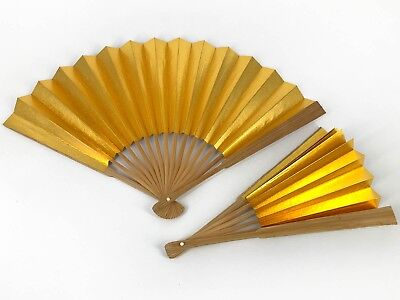 Vintage Set of 2 Japanese Gold & Silver Ceremonial Sensu Fans from Kyoto Nov18-E
