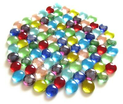 90 Pieces Mixed Rainbow Coloured Mosaic Craft Pebble Mini Glass Gem Stones