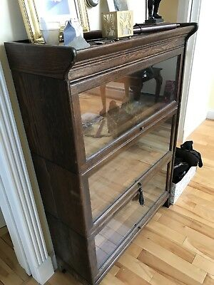 Clean Barrister Lawyers Oak Stacking Bookcase Showcase Wow! Old Antique