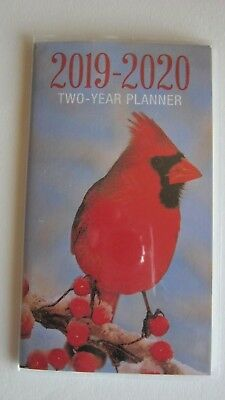 2019-2020 Two 2 Year Cardinal PLANNER Pocket Purse bird Calendar red 2 yr nature