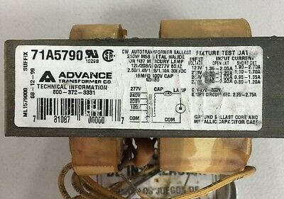ADVANCE 71A5750-001D CW Autotransformer Ballast 250W M58 Metal ... on
