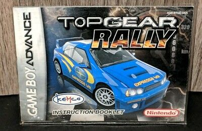 Top Gear Rally Instruction Manual Only! (Nintendo Gameboy Advance) Rare! FS&H!