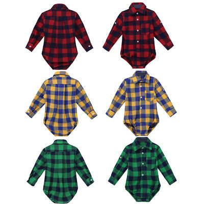 Baby Boys Plaid Button-up Romper Shirt Toddler Jumpsuit Playsuit Casual Clothes