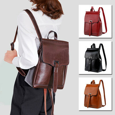 Convertible Real Leather Backpack Rucksack Daypack Travel Bag Purse Shoulder Bag
