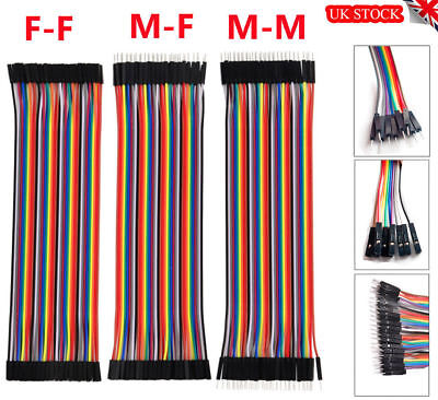 40Pcs Dupont Cables M-F M-M F-F Jumper Breadboard Wire Conduit GPIO Ribbon New