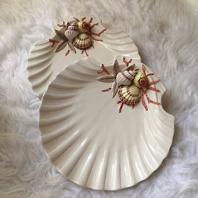Fitz&Floyd FF 1989 Hand Painted Oceana Shell Shaped Large Dinner Plates Set Of 2