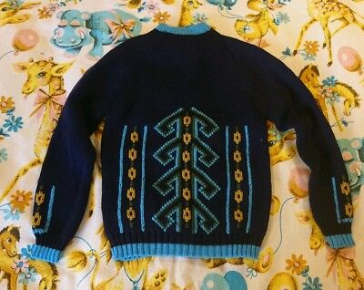 Vintage Childs jumper 70s 80s Age 6 7 8 9 Blue Patterned Girls boys Camford