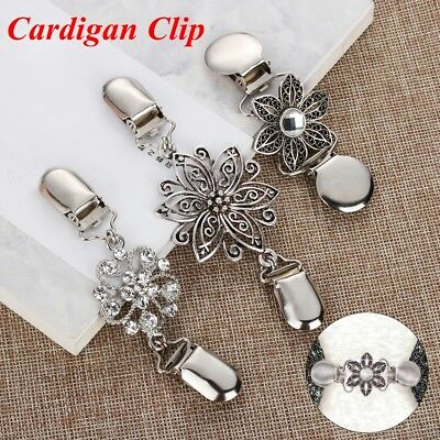 Crystal New Duck Clip Clasps Shawl Brooch Cardigan Clip Sweater Blouse Pin