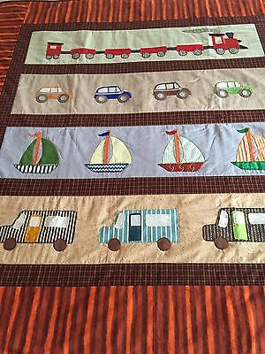 "Handmade quilt ""little vehicles"" with applique size 53.5"" x 51.5"""